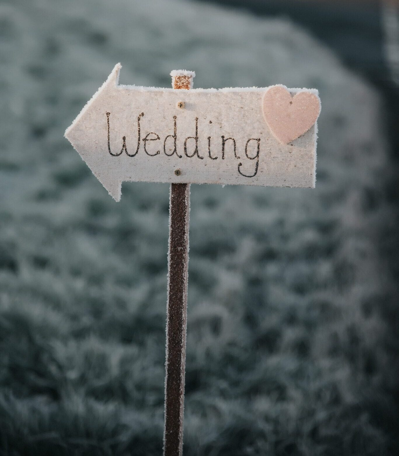 Winter wedding sign covered in frost